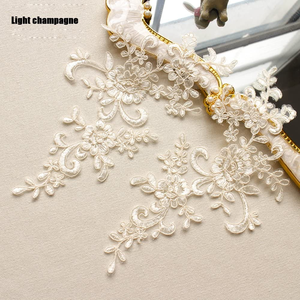2 Pcs Off-white with Sequins Flower Lace Patches for Wedding Dress DIY Clothing Flower Applique Collar Material