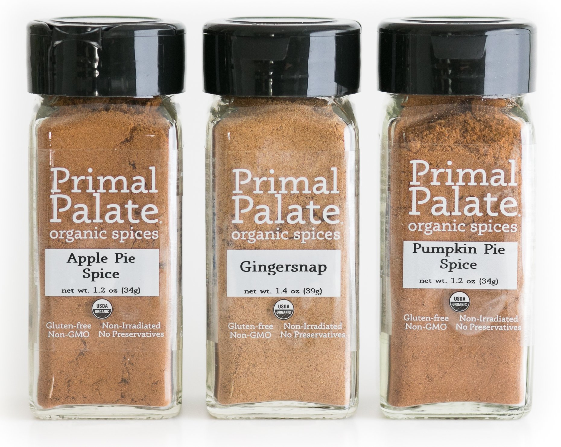 Primal Palate Organic Spices - Sweet Pack 3-Bottle Gift Set