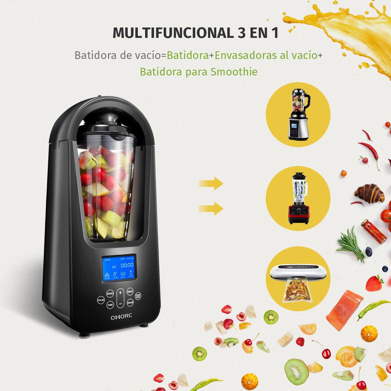 OMORC Batidora al Vacío, B atidora automático con Pantalla LED, 4 Modo de Mezcla, Multifuncional 3 en 1, Regalo un Vaso de almacenaje 800ml, ...