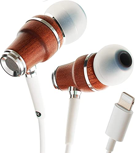 Symphonized NRG MFI Earbuds, Certified Lightning Earbuds Compatible with Apple iPhone iPad iPod, Premium Genuine Bubinga Wood in-Ear Noise Isolating Earphones, Stereo Wired Headphones White