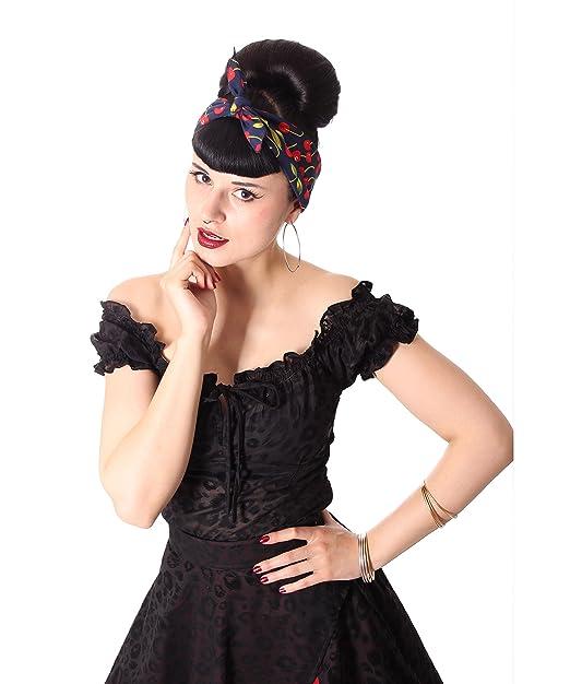 Sugarshock Damen Haar Tuch Cherry Bandana Farbe Navyblau Grosse