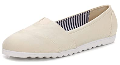 acde42ae218 ComeShun Womens Shoes Beige Classic Slip On Comfort Sneaker Casual Work  Flats Size 5