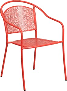Flash Furniture Commercial Grade Coral Indoor-Outdoor Steel Patio Arm Chair with Round Back