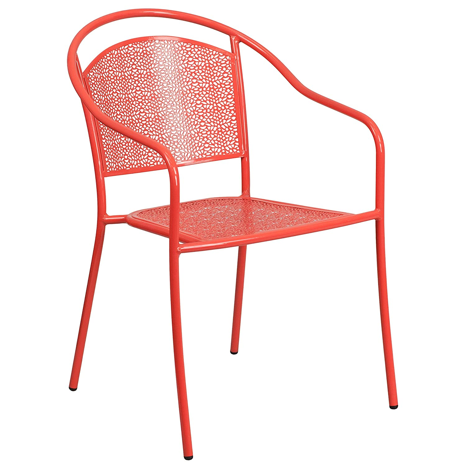 Flash Furniture Coral Indoor-Outdoor Steel Patio Arm Chair with Round Back