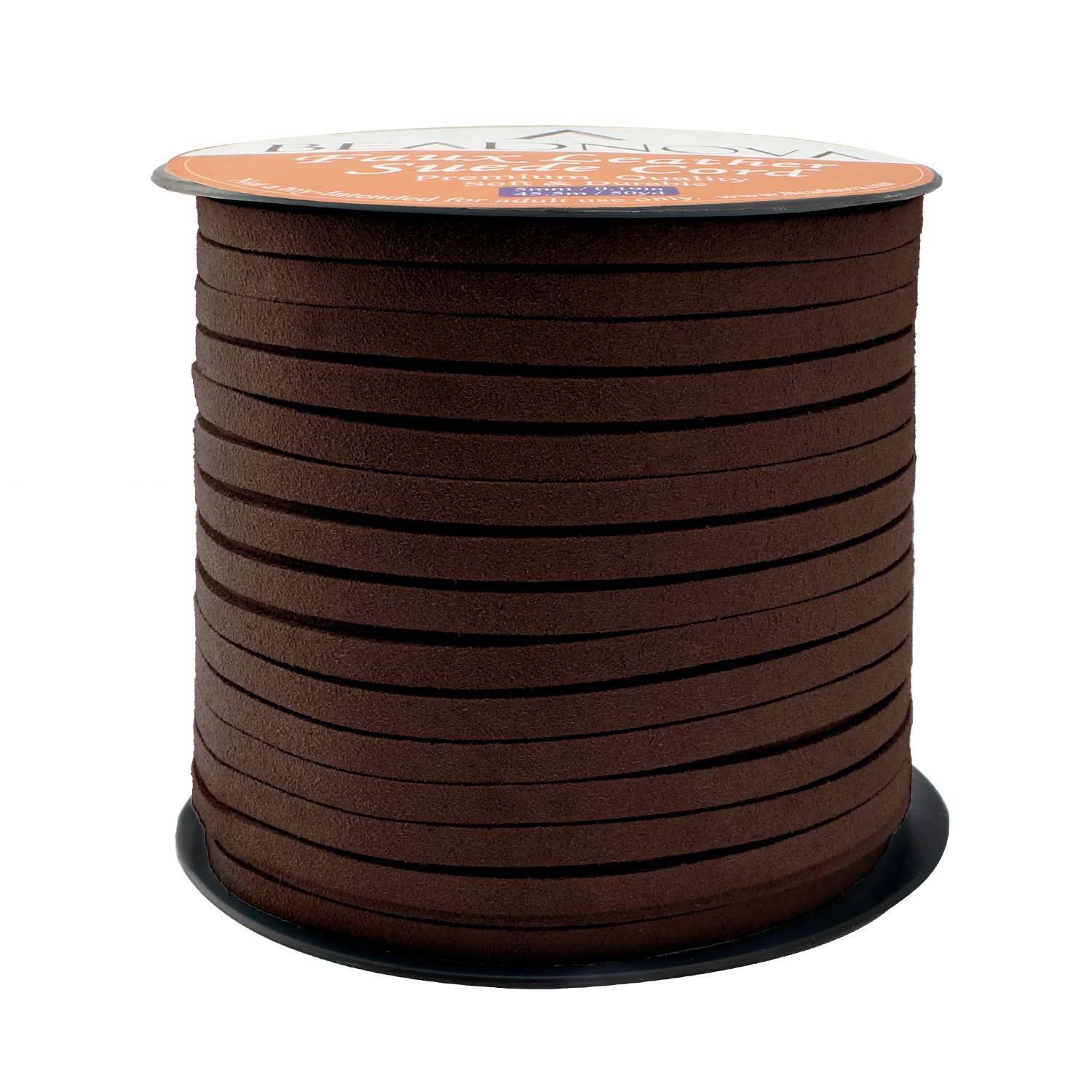 BEADNOVA 5mm Flat Leather Cord Faux Suede Cord 50 Yards Roll Spool for Necklace Bracelet Jewelry Making (Medium Brown) BCACS26089