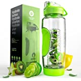 Infusion Pro 32 oz Fruit Infuser Water Bottle With Insulated Sleeve & Fruit Infused Water eBook : Bottom Loading, Large Cage for More Infusing Flavor : Delicious, Healthy Way to Up Your Water Intake