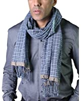 Anika Dali Men's Tokyo Plaid Check Scarf, Natural Cotton with Tassels (2 Colors)