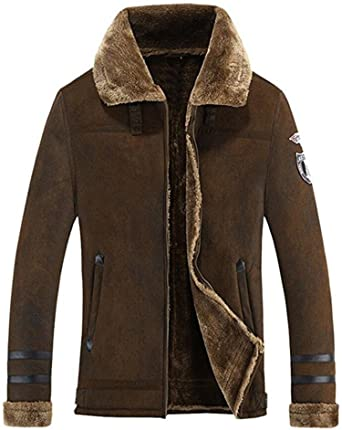 Mens Faux Fur Lined Stand Collar Thicken Chamarra Cálida Escudo Abrigo Trench Coat Peacoat (US