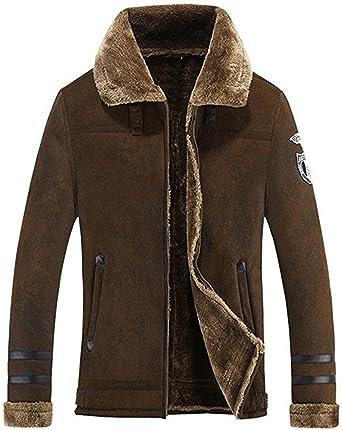 Mens Faux Fur Lined Stand Collar Thicken Chamarra Cálida Escudo Abrigo Trench Coat Peacoat (US
