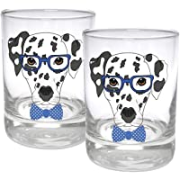 Circleware Dalmatian Dogs Double Old Fashioned Whiskey, Set of 2 Kitchen Drinking...