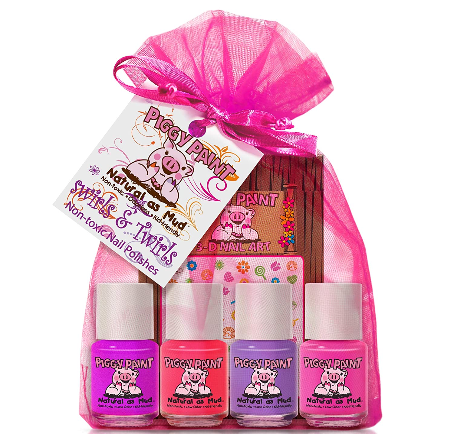 Piggy Paint 100% Non-toxic Girls Nail Polish - Safe, Chemical Free Low Odor for Kids, Swirls & Twirls Gift Set