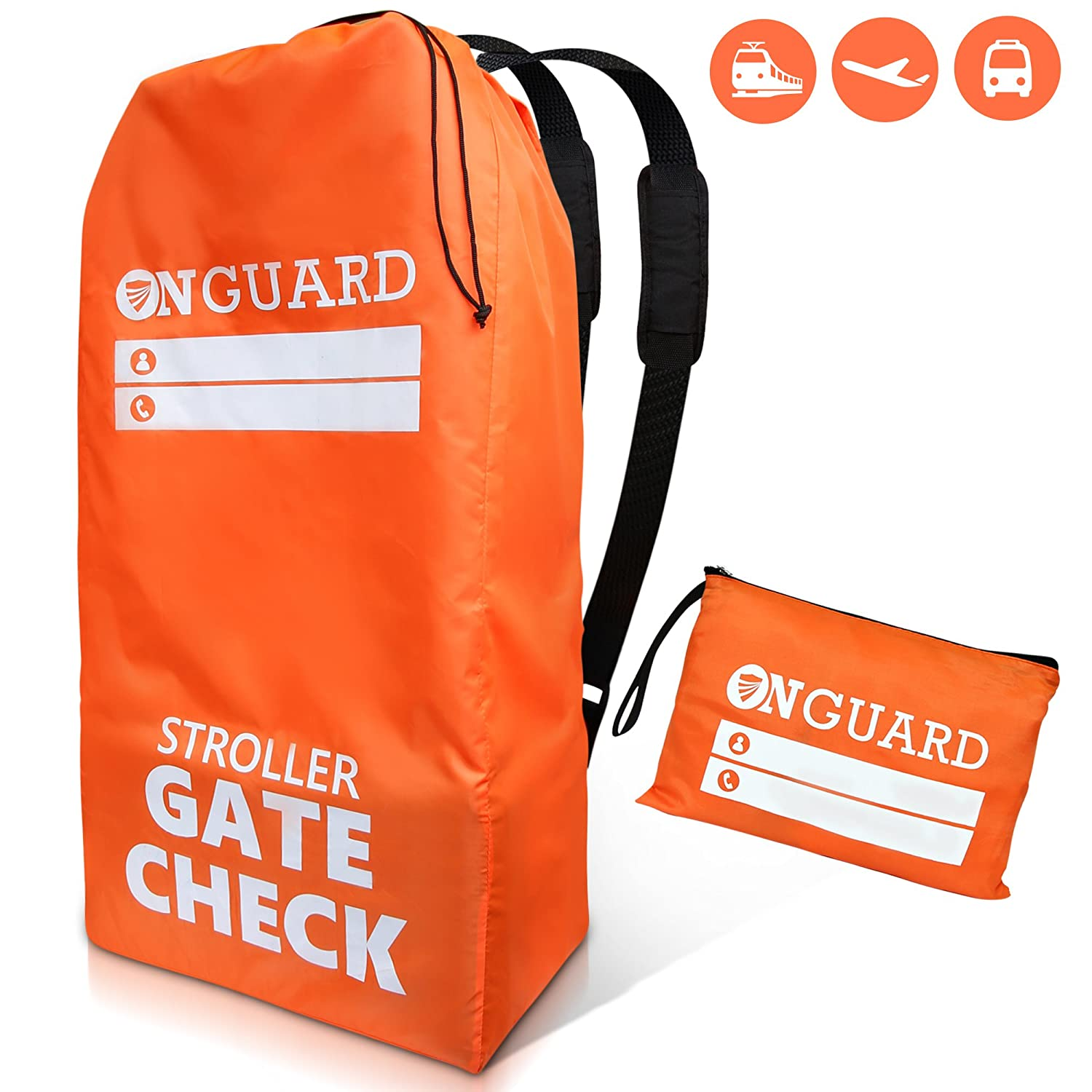 OnGuard - Double Stroller Bag with Storage Pouch | Stroller Travel Bag | Waterproof Rip-Resistant Polyester | Compact Foldable Gate Check Cover for Strollers | Universal Baby Stroller Bag for Airplane