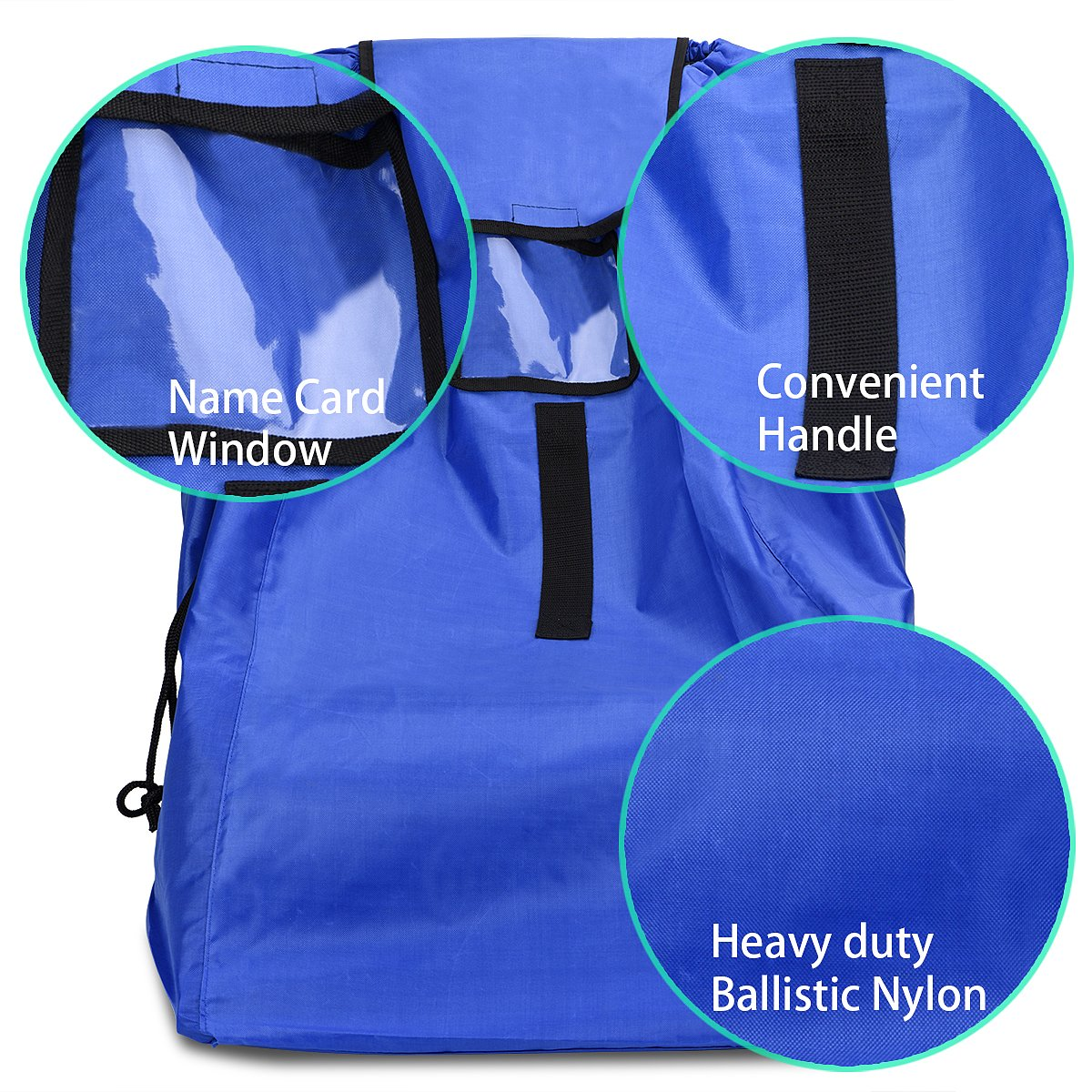 Car Seat Travel Bag, Airport Gate Check Bag with Easy-to-Carry Backpack Style Shoulder Straps Check Your Cars seat in Flight,420D Blue