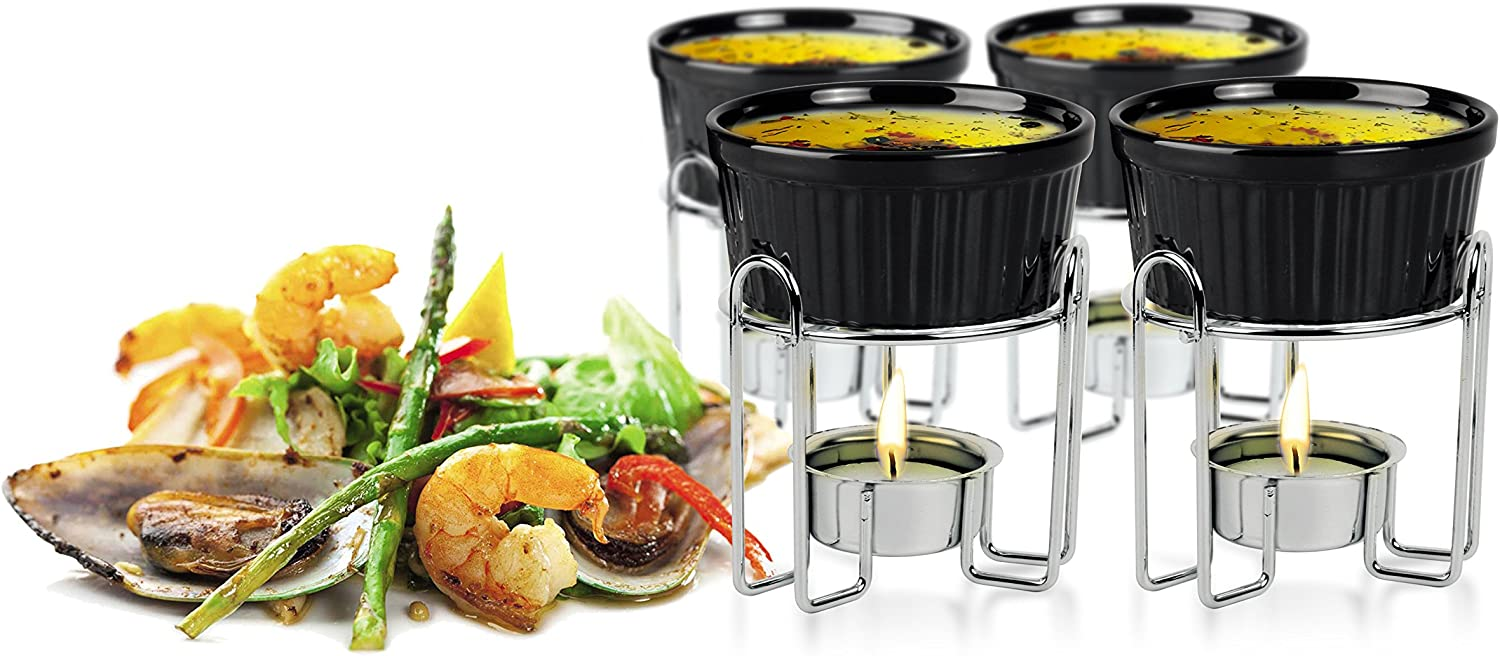 Artestia Ceramic butter warmers for seafood set of 4,candle warmer,melted butter cups for lobster,personal fondue set melted butter cups for Seafood, Fondue(black)