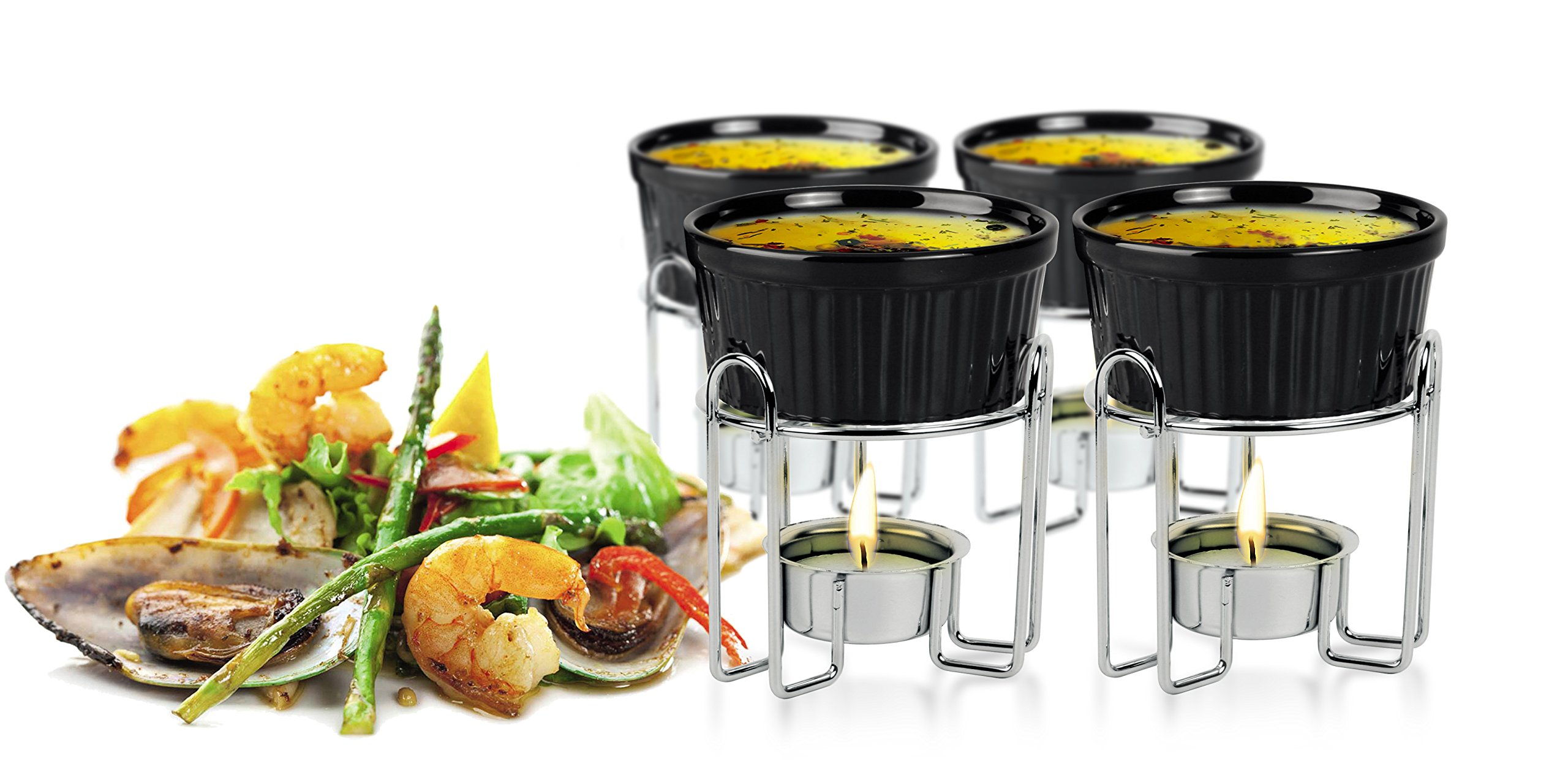Artestia Ceramic Butter Warmer Set for Seafood (4, black)