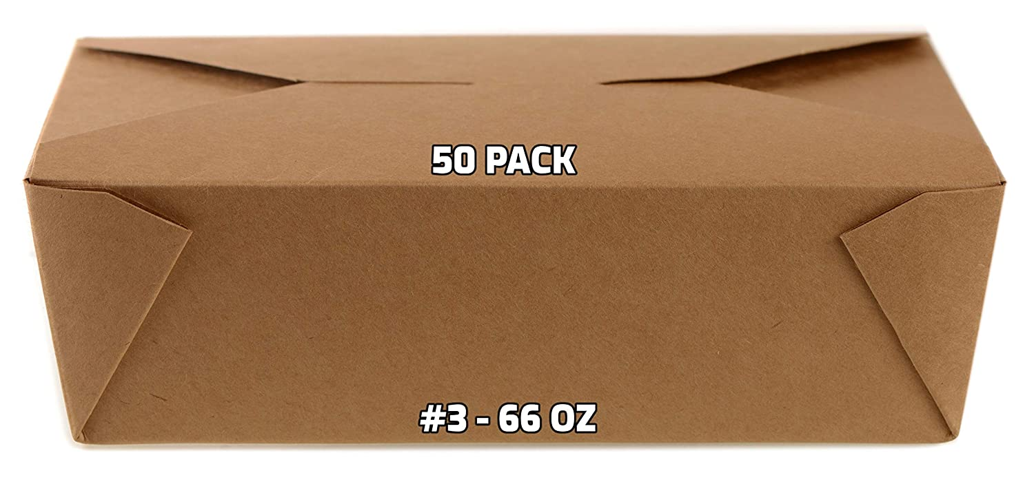 [50 PACK] Take Out Food Containers 66 oz Kraft Brown Paper Take Out Boxes Microwaveable Leak and Grease Resistant Food Containers - To Go Containers for Restaurant, Catering, Food Truck - Recyclable Lunch Box #3 by EcoQuality