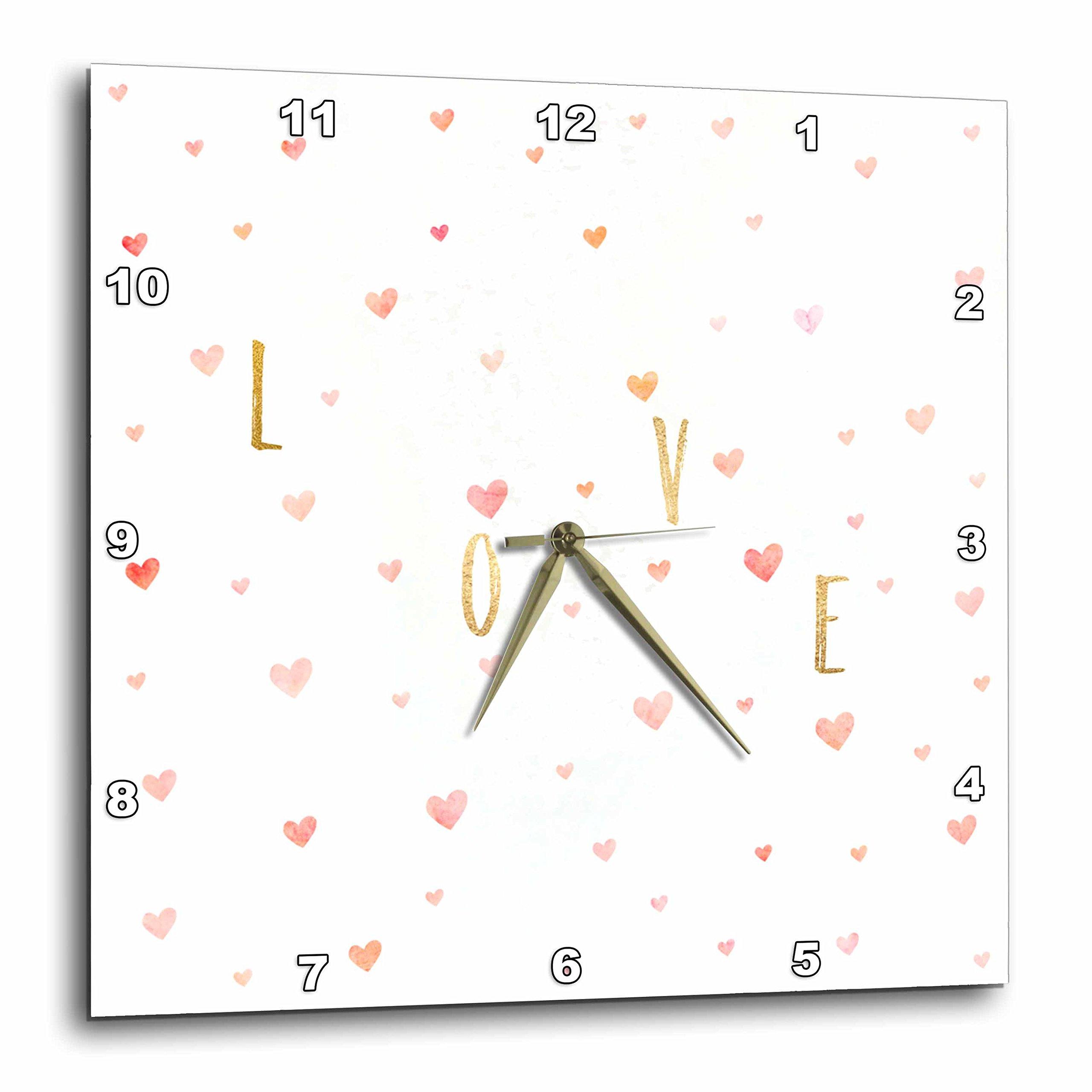 3dRose PS Inspiration - Gold Inspirational Love Watercolor Pink Hearts - 10x10 Wall Clock (dpp_280768_1)