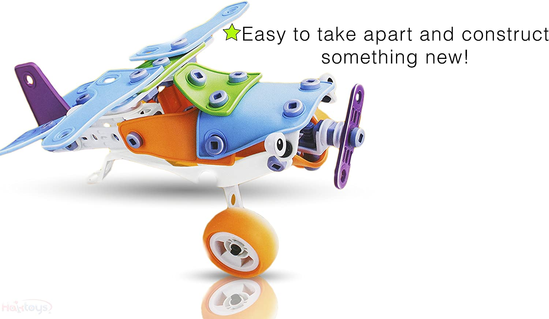 Haktoys Build/&Play Take-A-Part Toys 132 Pcs Vehicle Set Educational Construction