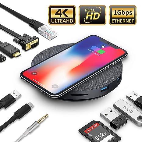 Amazon.com: Hub USB C con cargador inalámbrico y ventilador ...