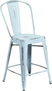 Flash Furniture 24'' High Distressed Green-Blue Metal Indoor-Outdoor Counter Height Stool with Back