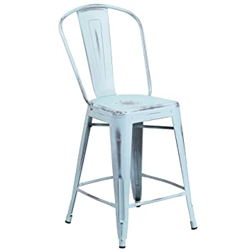 amazoncom flash furniture high distressed greenblue metal counter height stool with back kitchen u0026 dining