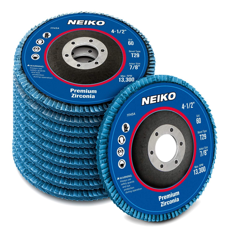 "Neiko 11143A Premium Zirconia Flap Disc | 4.5"" x 7/8-Inch, 60 Grit, Bevel Type #29-10 Pack"