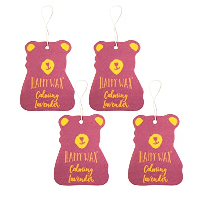 Happy Wax Scented Hanging Car Cub Air Freshener - Scented Car Freshener Infused with Natural Lavender Essential Oils! - Cute Car Freshener 4-Pack (Calming Lavender): Automotive