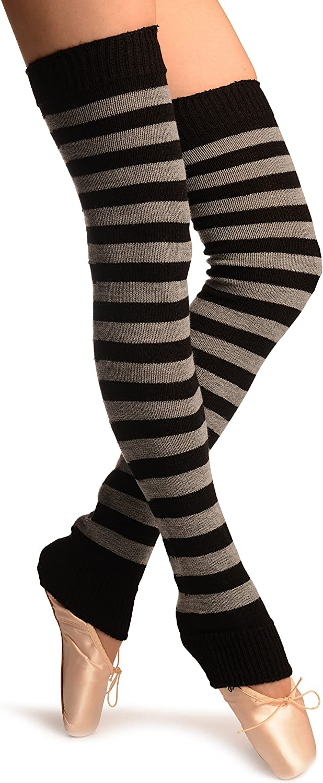 White /& Black Stripes Dance//Ballet Leg Warmers White Striped Leg Warmers