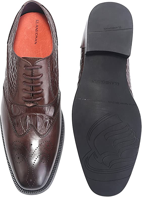 d14312a9e ELANROMAN Mens Leather Oxford Dress Shoes Wingtip Brogue Handcrafted Men's  Genuine Leather Lace up Dress Leather. Back. Double-tap to zoom