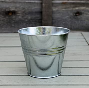 Amazon UK & Spring life GALVANIZED ZINC TIN METAL BUCKET HERB FLOWER POTS PLANTER IN DIFFERENT SIZES (9cm without handle)