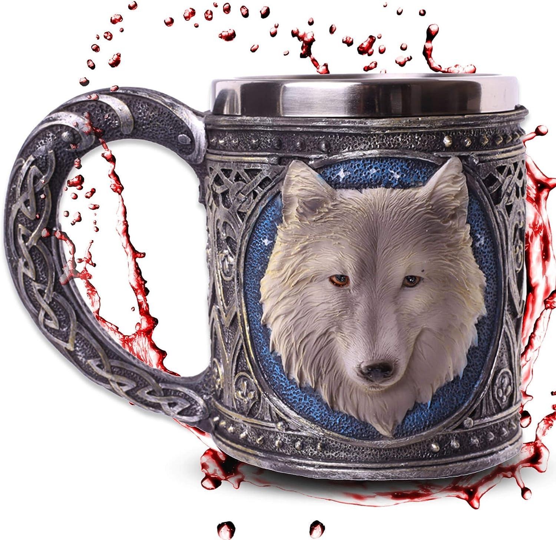 mtb more energy Jarra White Wolve - Lobo Blanco bajo el Cielo Estrellado - Decoración Medieval fantasía fantástico