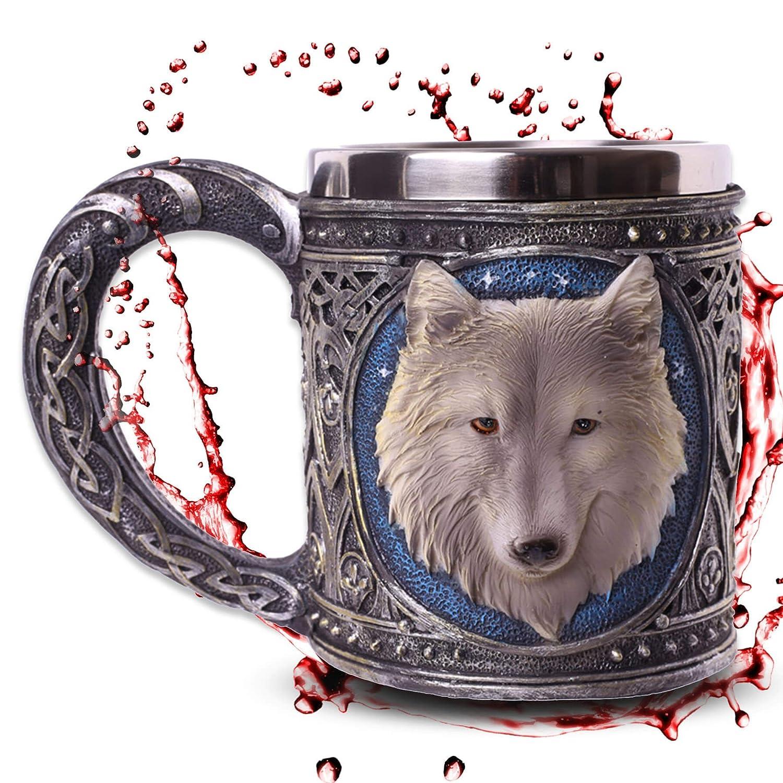 Chope 'White Wolve' - Loup blanc sous les é toiles - Dé coration fantastique fantaisie mtb more energy