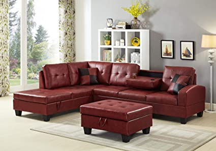 Strange Gtu Furniture Pu Leather Living Room Irreversible Living Room Sectional Sofa Set In Black White With Ottoman Red Complete Home Design Collection Papxelindsey Bellcom