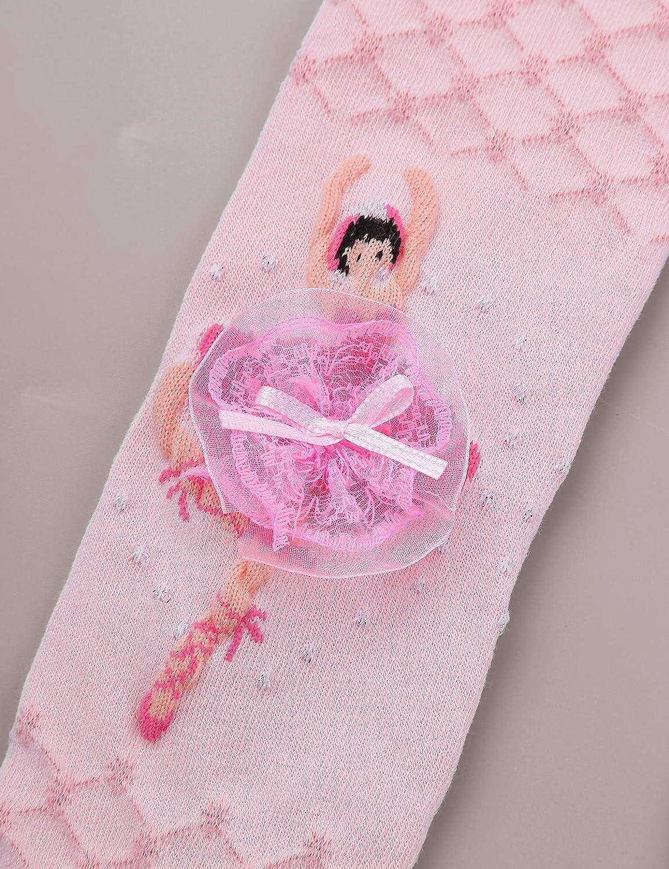 IEFIEL Leotardo Medias de Ballet para Ni/ña Medias de Baile Punto Princesa Leggings Paquete de 3 Pantimedias Negro Blanco Rosa