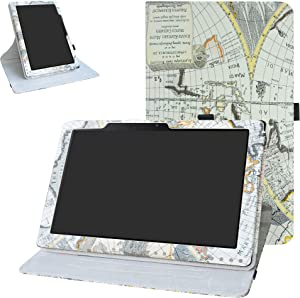 Acer Iconia One 10 B3-A50 Rotating Case,Bige 360 Degree Rotary Stand with Cute Pattern Cover for Acer Iconia One 10 B3-A50 10.1 inch 2018 Tablet (Not fit Acer A3-A50),Map White