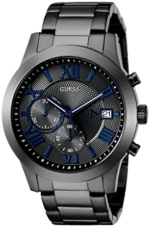 c752483a3 GUESS Stainless Steel Gunmetal Chronograph Bracelet Watch with Date. Color:  Gunmetal (Model: