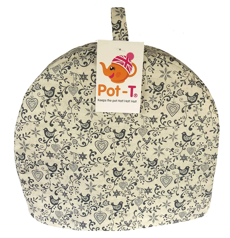 Pot-T INSULATED Tea Cosy Cozy in Scandi Grey Birds (Mini (16.5cm(h) x 8.5cm(d) x 20cm(l))) Coolcozycovers LTD