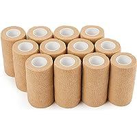 Venda cohesiva 10cm x 4.5m - 12 Rollos Vendas Autoadhesivas, venda elastica adhesiva para Primeros Auxilios, Deportes…