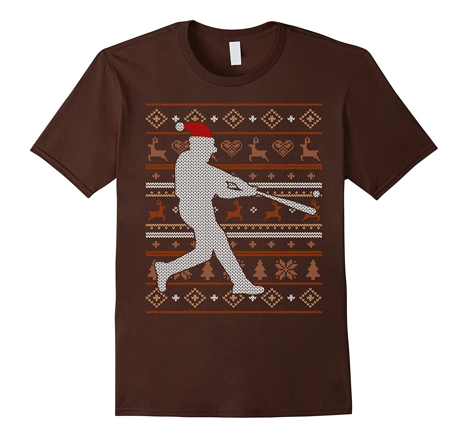 Baseball Ugly Christmas Sweater Sports T-Shirt Xmas Gift Tee-ANZ