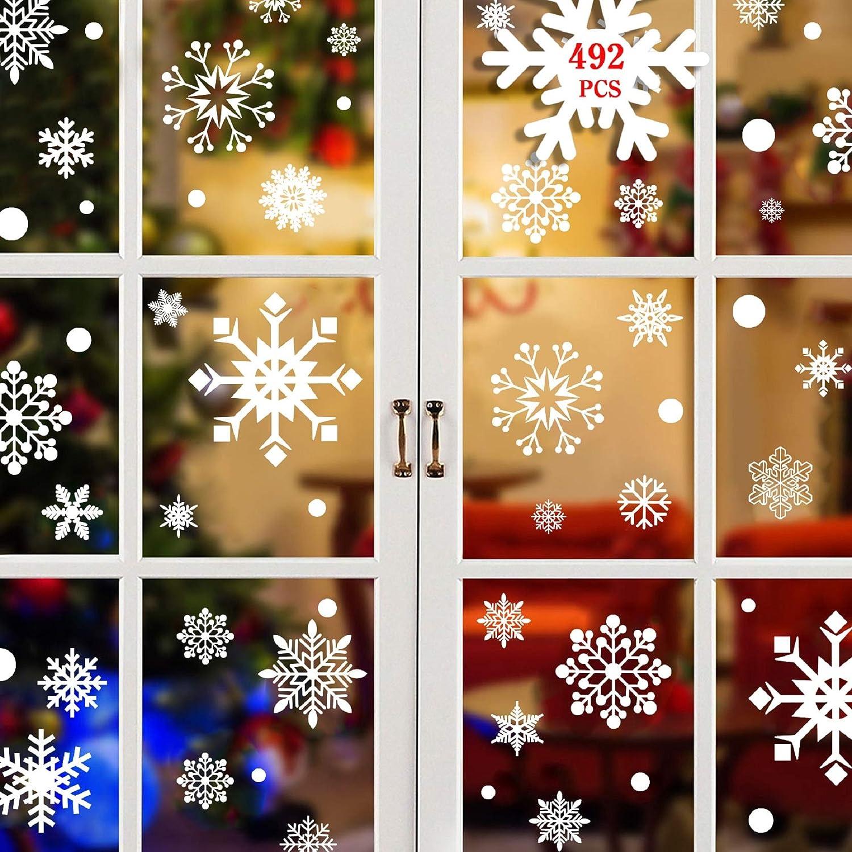 Tuopuda Natale Vetrofanie Fiocco di Neve Decorativi 492PZ PVC Finestra Adesivi Murali Rimovibile Stickers Natale Addobbi per Finestra Vetrine Negozi Casa Porta Ingresso