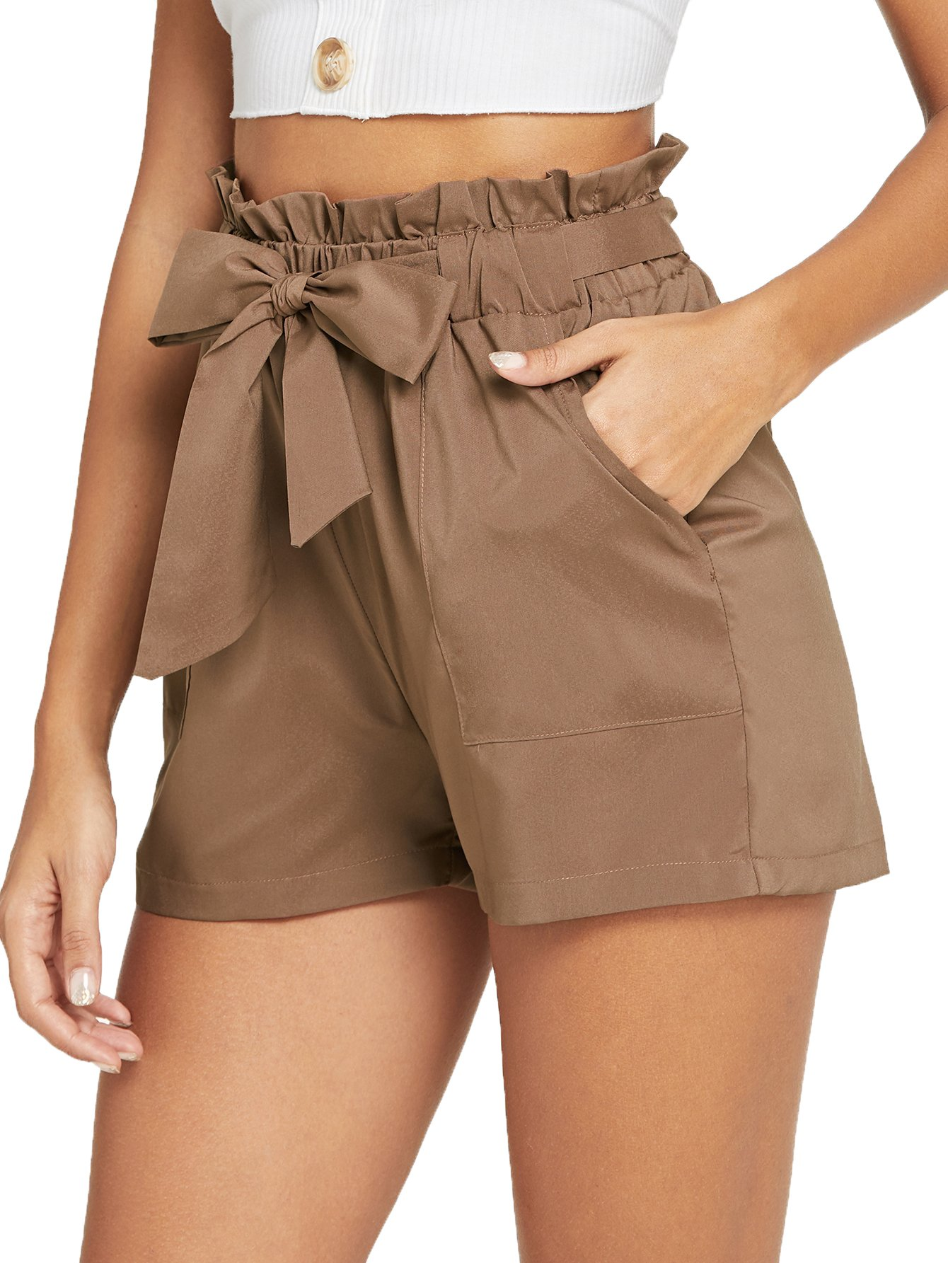 Romwe Women's Casual Elastic Waist Bowknot Summer Shorts with Pockets Brown M