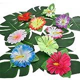 Pangda 32 Pièces Feuilles Tropicales Simulation pour la Décoration de Fête Hawaiian Luau Jungle