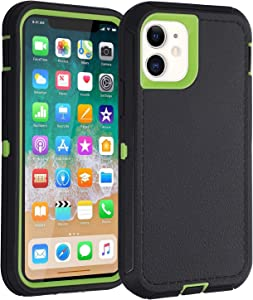 Co-Goldguard Case for iPhone 11,Heavy Duty [Litchi Pattern Series] 3 in 1 Durable Cover with Screen Bumper Shockproof Drop-Proof Shell Cases for Apple iPhone11 6.1inch,Green&Black