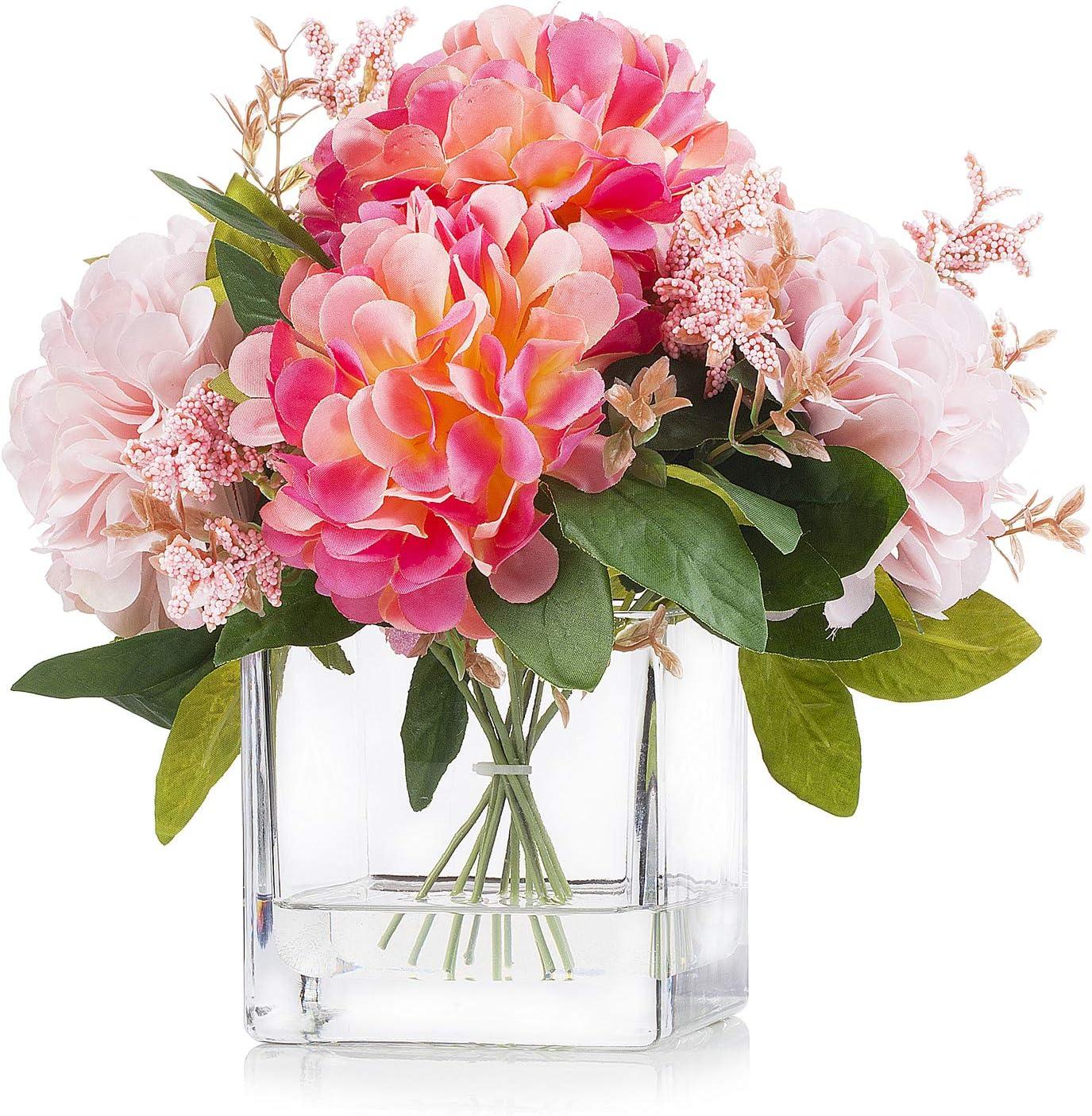 Enova Home Artificial Silk Dahlia Flower Arrangements in Cube Glass Vase for Home Wedding Decoration (Pink)