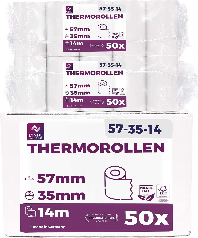 Ec-Cash - Rollos de papel térmico (57 mm x 14 m x 12 mm, 50 rollos)