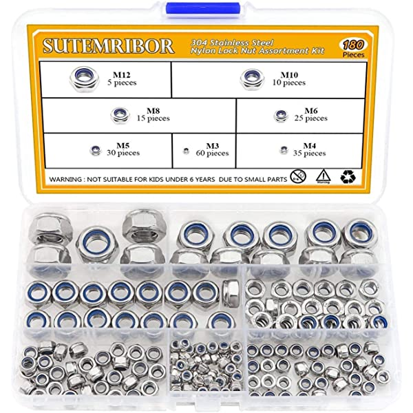 Swordfish 30330-210pcs Nylon Insert Lock Nut Assortment 12 sizes from #4-40 to 5//8-11 Zinc Plated Steel