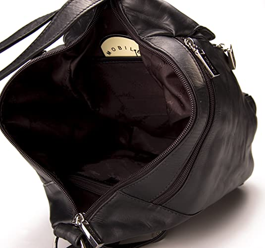 b3fa4836f275 Visconti Leather Backpack Handbags for Women - Rucksack for Travel DANII    18357  Black   Amazon.co.uk  Shoes   Bags