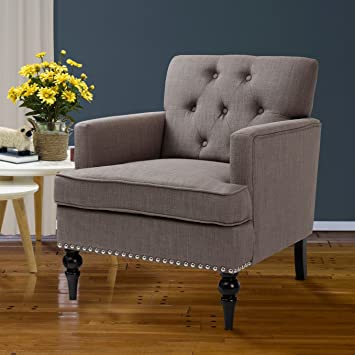 Finnkarelia Grey Accent Chair For Living Room Contemporary Arm Club Chair  With Armrest And Solid Wood