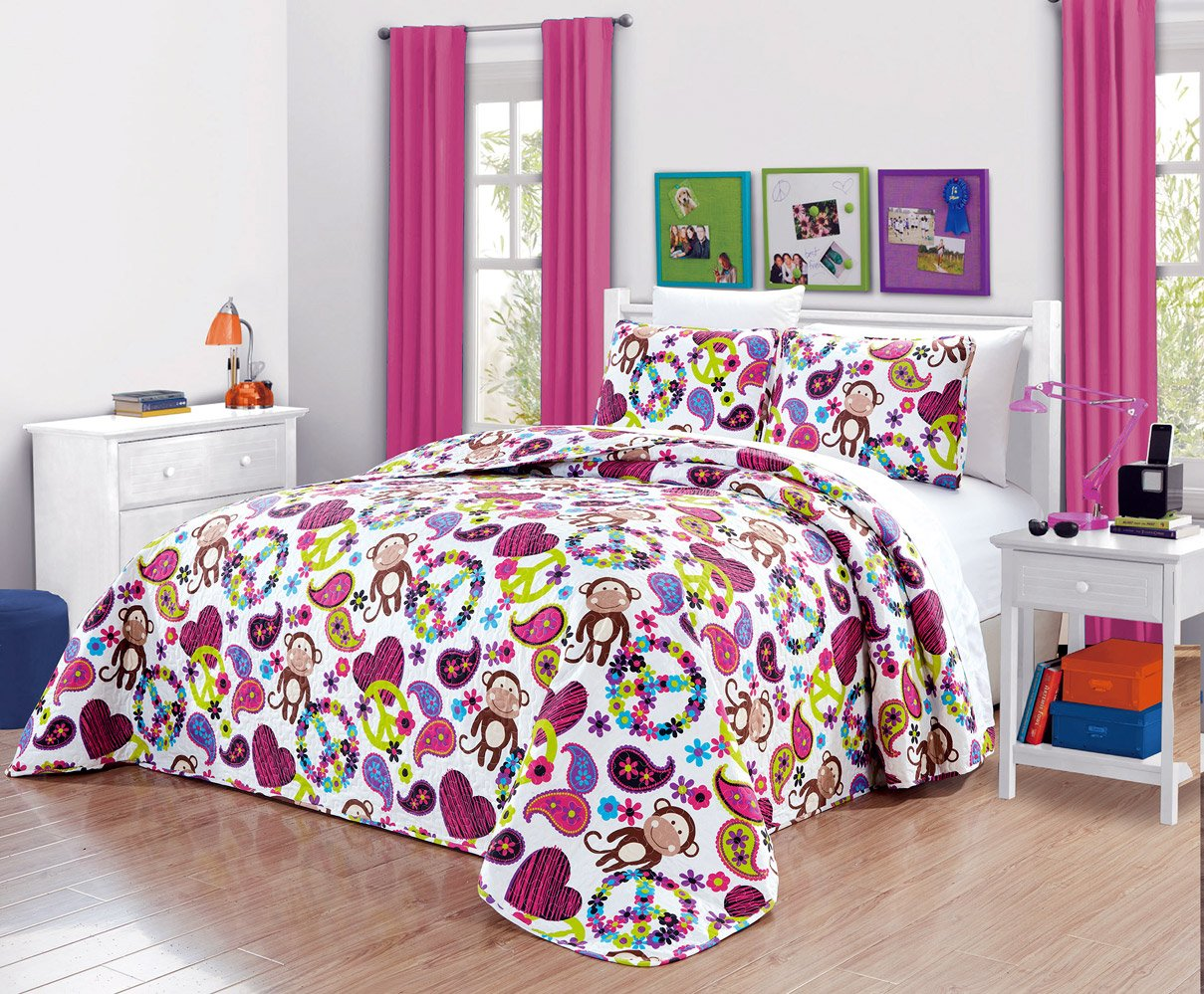 Girls Kids Quilts-FABIAN MONKEY Tween Teen Dream Coverlet. (Double) FULL SIZE Bedspread set -Peace, Hearts-Hot Pink, Turquoise Blue, Purple, Black and White by Grand Linen