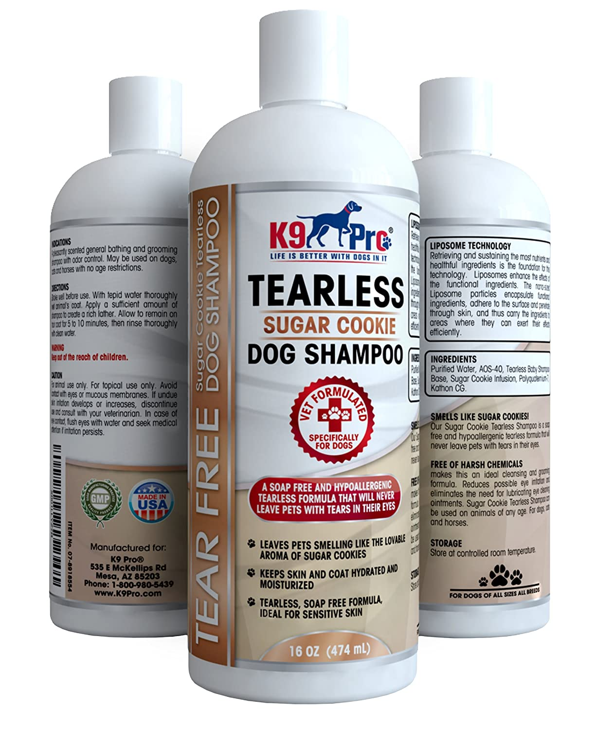 Tear Free Dog Shampoo - Best Hypoallergenic Tearless Anti Itch Vet Formula For Dogs With Allergies And Dry Itchy Sensitive Skin - Soothing and Gentle on Your Puppies Eyes - Sugar Cookie Scent